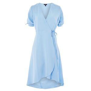 Topshop tie sleeve wrap blue dress